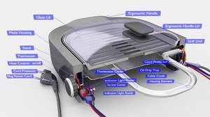 3D electric grill
