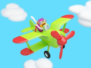Cartoon bird flying in the clouds on a plane animation. Looped video with black and white mask.