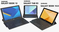 Samsung Galaxy Tab S3 & Galaxy Book 10.6 & Galaxy Book 12 with S Pen & Keyboards (Rigged)