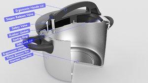 3D model pressure pot cooker