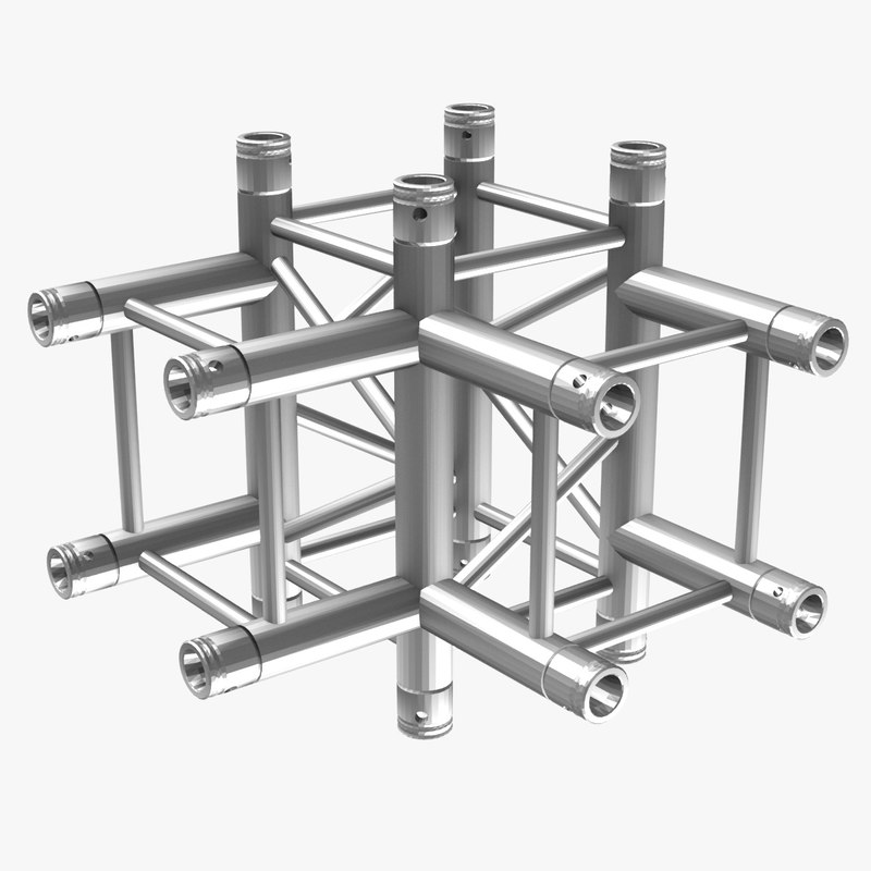 free square truss corner junction 3d model