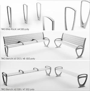 bench bike rack 3d max