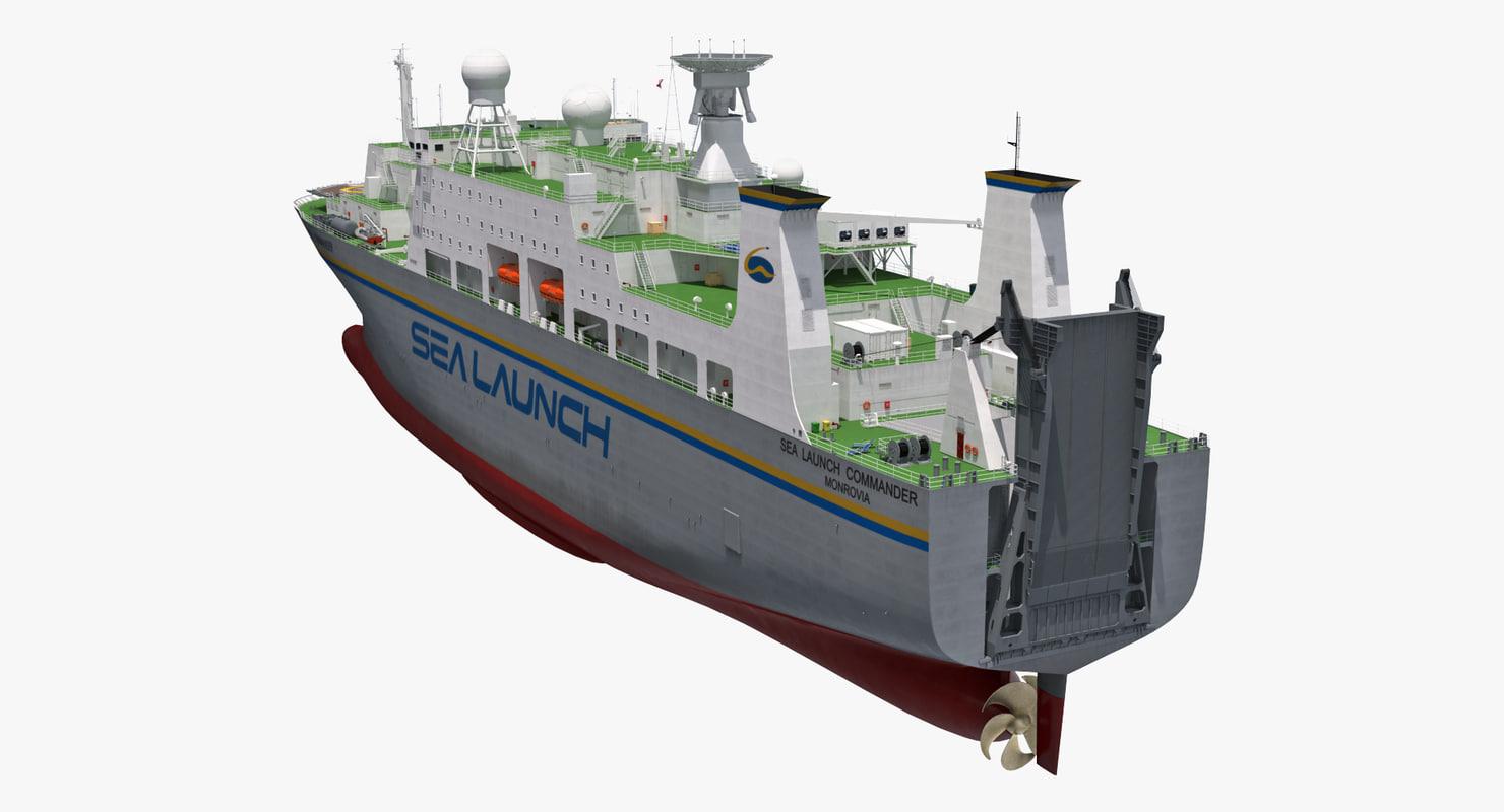 rocket launch command ship 3D model
