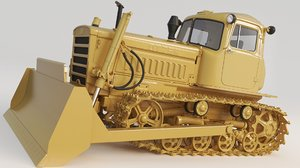 3D bulldozer dt-75 dt model