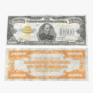 10000 gold certificat 1934 3d model