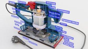 3D sheet orbital sander model