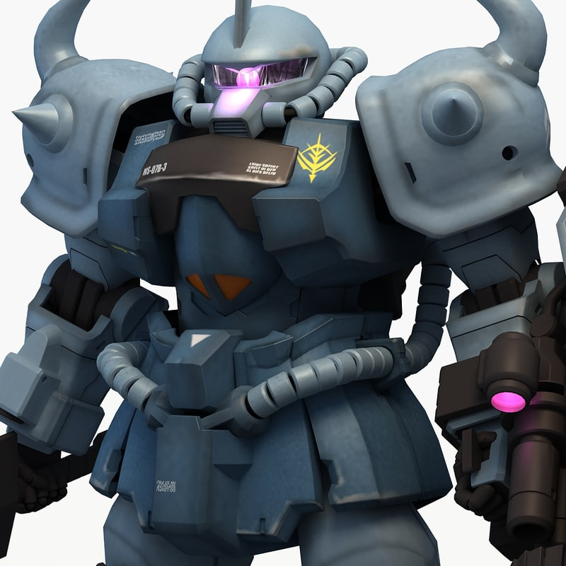 ms-07b-3 gouf custom 3d model