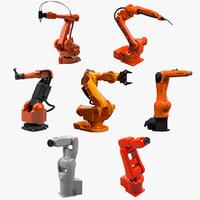 7 industrial robots set 3d c4d