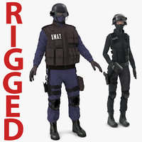 3d swat rigged policemans modeled