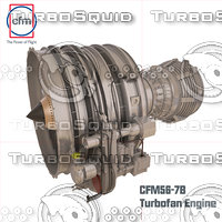 c4d cfm56-7b engine complete internal
