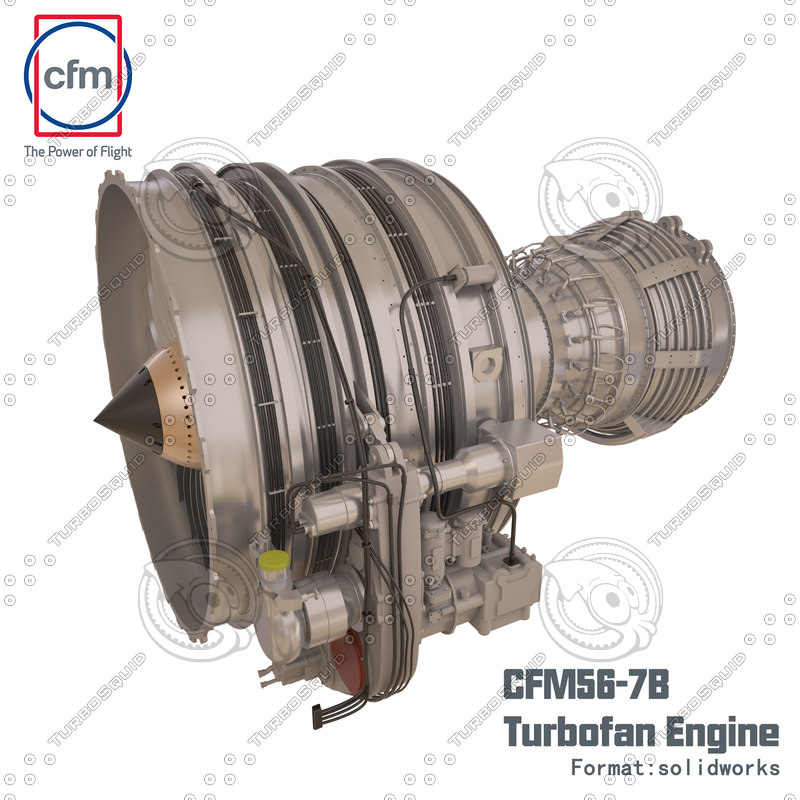 3ds cfm56-7b engine solidworks complete