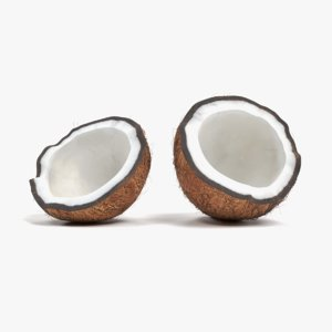 3D model coconut cracked