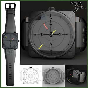 3d bell ross watch 01-92 model