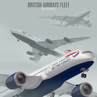 3d model of plane british airways fleet