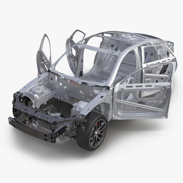 sedan frame chassis 2 3d model