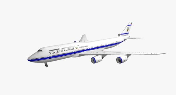 boeing 747-8i state kuwait 3d obj