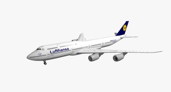 3d boeing 747-8i lufthansa model