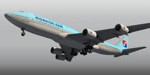 3d boeing 747-8 plane korean