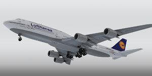 boeing 747-8 plane lufthansa 3d max