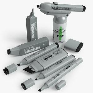 3d model copic markers set
