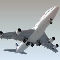 3d model boeing 747-400 plane air france