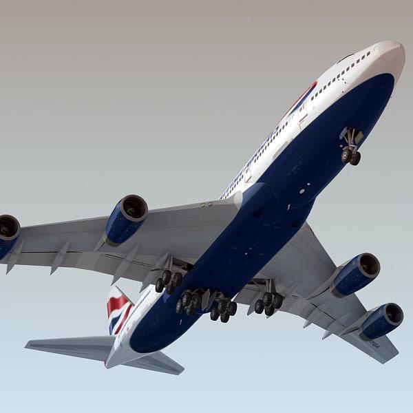 3ds boeing 747-400 plane british airways
