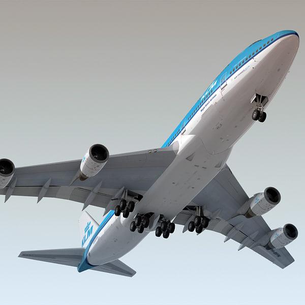 3d boeing 747-400 plane klm