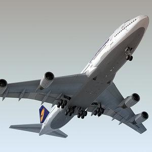 3d boeing 747-400 plane lufthansa