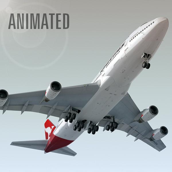 boeing 747-400 plane qantas 3d model