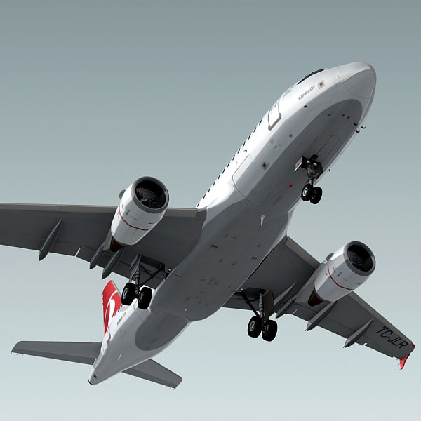 airbus a319 plane turkish 3d model