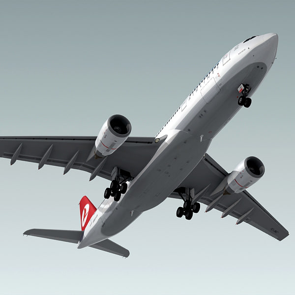 3d airbus a330-200 plane turkish model