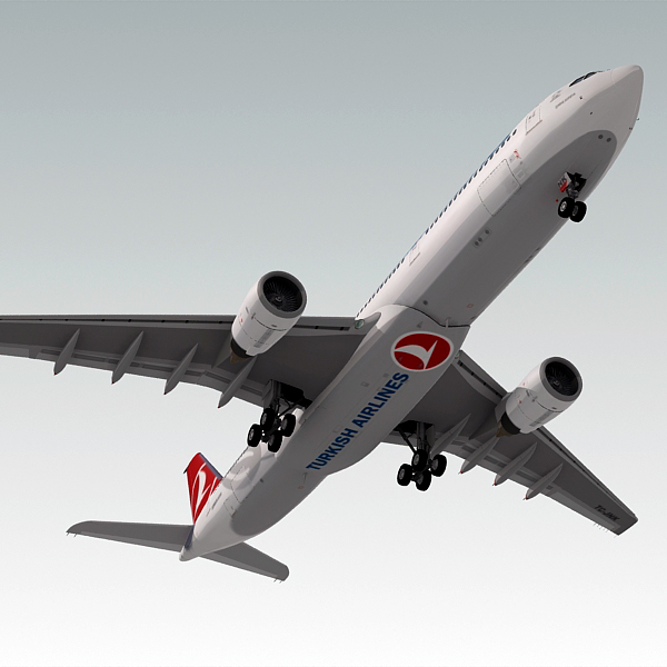 airbus a330-300 plane turkish 3d model
