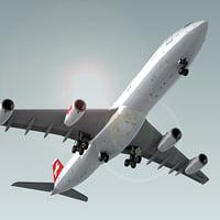 3d airbus a340-300 plane swiss