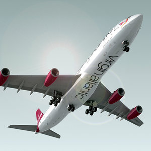 3d model airbus a340-300 plane virgin atlantic