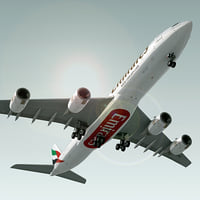 airbus a340-500 plane emirates 3d model