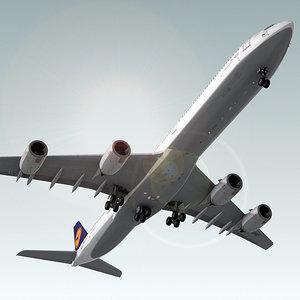 3ds airbus a340-600 plane lufthansa