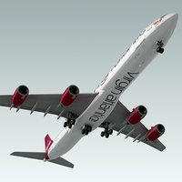 airbus a340-600 plane virgin atlantic 3d max