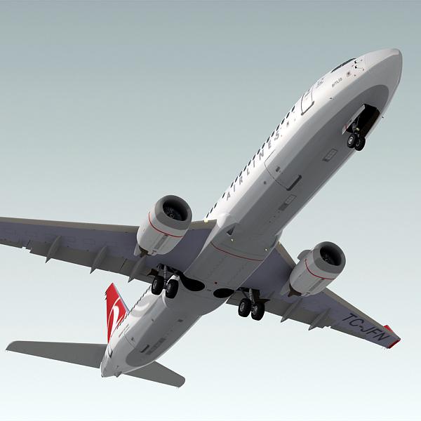3ds boeing 737-800 plane turkish