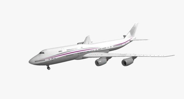 boeing 747-8i qatar amiri 3d model