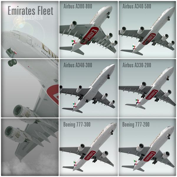 plane emirates fleet airbus 3d max