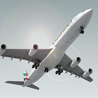 3d airbus a340-300 plane emirates model