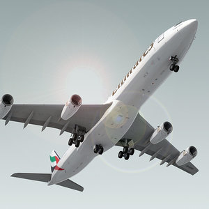 3d airbus a340-300 plane emirates model