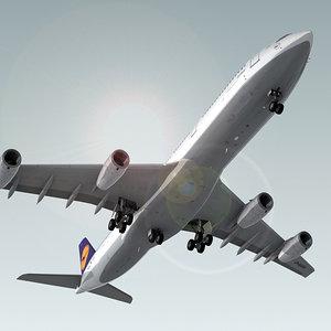 3d model airbus a340-300 plane lufthansa