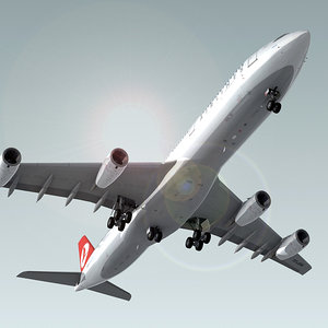 3d model airbus a340-300 plane turkish
