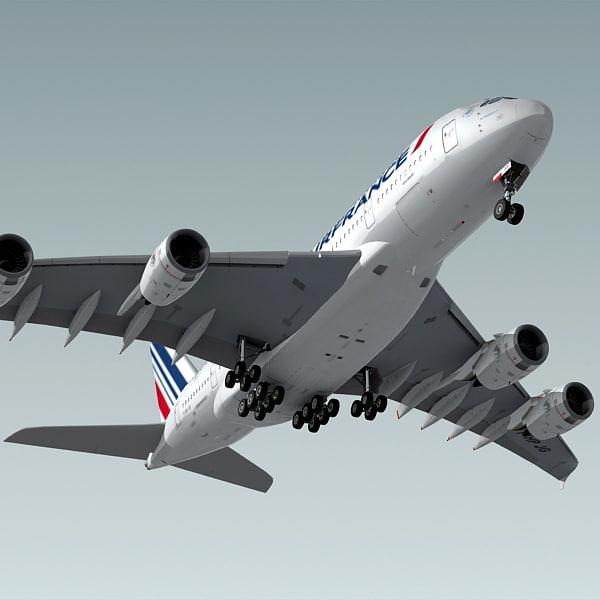 airbus a380 plane air france 3d model