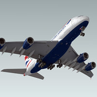 3d airbus a380 plane british airways model