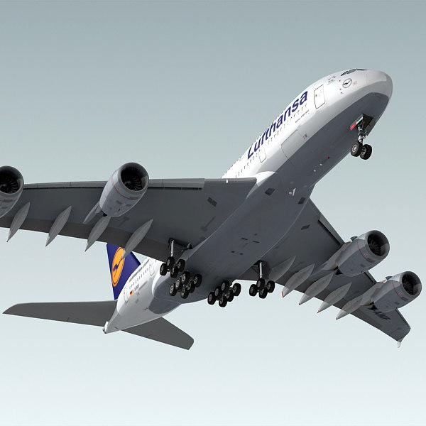 airbus a380 plane lufthansa 3d 3ds