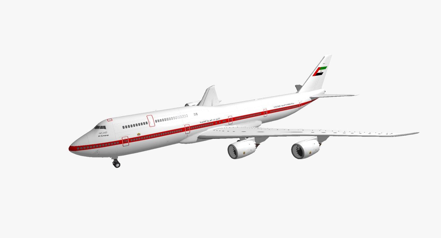 boeing 747-8i united arab 3d model