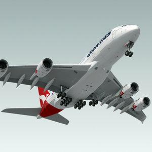 airbus a380 plane qantas 3d obj