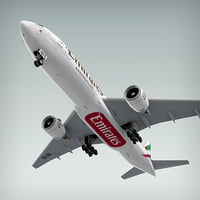 3d boeing 777-200 plane emirates model